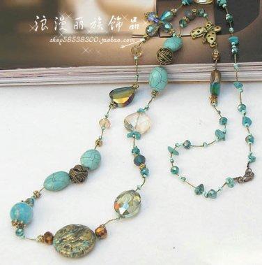 J33 Retro Bohemia Golden Wire Crystal + Turquoise Stone Necklace
