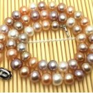 J37  AA+ 9-10mm Brighten Full Deep Champagne South Sea Cultured Pearl Round Bead Choker