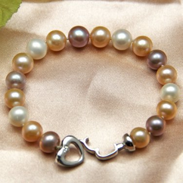 J38  AA+ 9-10mm Brighten Cocktail South Sea Cultured Pearl Round Bead Bracelet