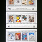 United Nations 1986, 3 s/sheets, MNH**