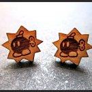 Super Mario Bros Inspired Bob-Omb Cherry Wood Stud Earrings SMB Power Up Bomb