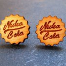 Fall Out - Nuka Cola Bottle Cap Shaped Laser Engraved Cherry Wood Stud Earrings