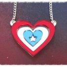 I love Captain America Heart Shield Necklace Avengers Costume Cosplay Civil War