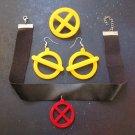 X-Men Jubilee Costume Accessory Cosplay Jewelry Set Earrings, Necklace & Pin Brooch