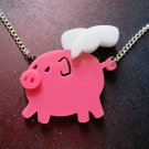 When Pigs Fly Pink Winged Pink Potbelly Pig Necklace Laser Cut Acrylic