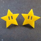 Invincibility Star Inspired Power Up Big Yellow Stud Earrings Super Mario Brothers