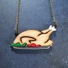 Holiday Turkey Dinner Necklace Acrylic and Cherry Wood Thanksgiving / Christmas