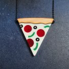 Pizza Slice Statement Necklace Supreme Pizza Pepperoni, Peppers and Olives