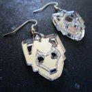 Cyberman Face Mirrored Silver Cutout Shape Earrings - Doctor Who Enemy, Handles