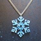 "Frozen Snowflake Glitter Blue Necklace 24"" Silver Chain"