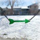 Green Arrow Laser Cut Acrylic Pendant Necklace with Gunmetal Black Chain