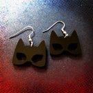 Catwoman Black Mask Silhouette Shape Earrings, Cowl Cat Woman Ears