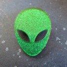 Green Glitter Big Eye Alien Face Brooch Pin - Laser Cut Acrylic