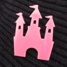 Princess Castle Brooch Pink Shape Cutout Laser Cut Acrylic