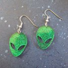 Green Glitter Big Eye Alien Head Face Dangle Earrings - Laser Cut Acrylic