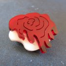 Alice in Wonderland White & Red Painted Rose Queen of Hearts Acrylic Cut Brooch