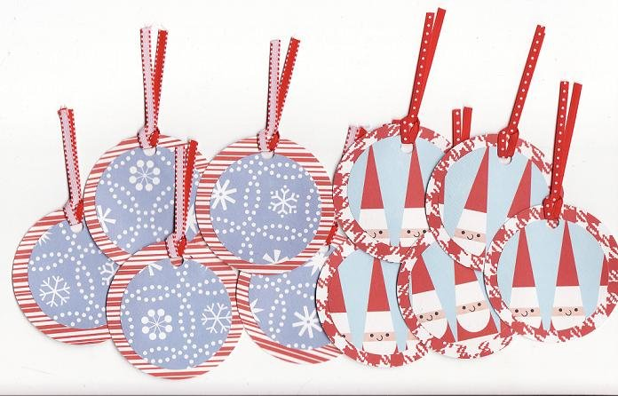 Set of 10 Santa and Snowflake Gift or Hang Tags