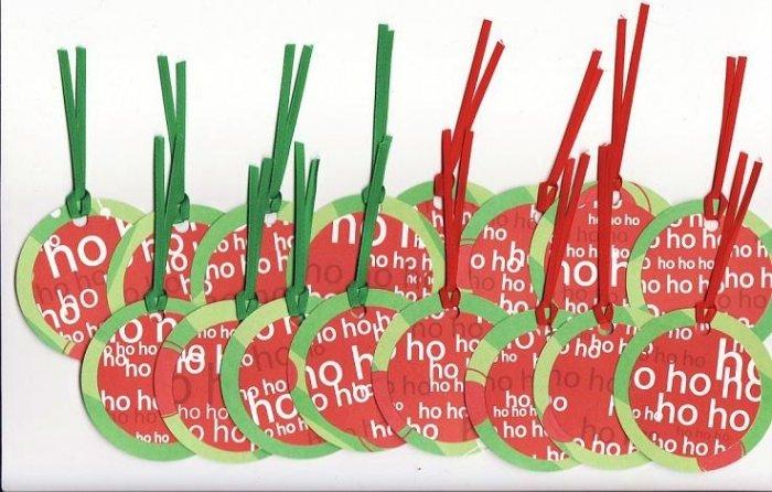 """Set of 16 """"Ho Ho Ho"""" Christmas Gift or Hang Tags"""