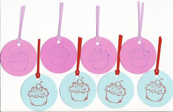 Set of 8 Pink and Blue Cupcake Gift or Hang Tags
