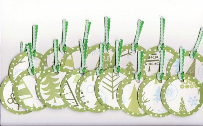 Set of 16 Green Winter Wonderland Trees Gift or Hang Tags