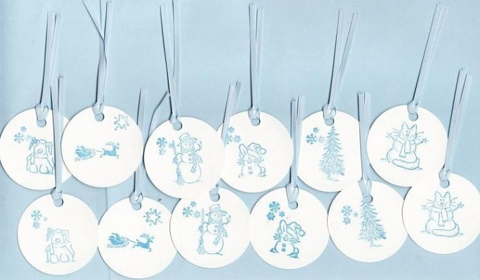 Set of 12 Snow Fun Gift or Hang Tags