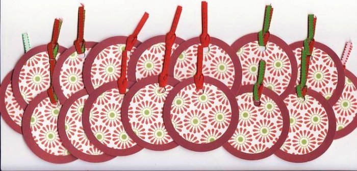 Set of 16 Retro Poinsettia Christmas Holiday Gift or Hang Tags