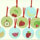Set of 9 Delicious Fruit Gift or Hang Tags