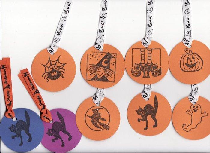 Set of 7 Cute Halloween Medley Gift or Hang Tags + TWO BONUS TAGS