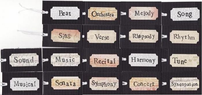 18 Black Corrugated Gift/Hang Tags Inspired by August Rush w/ Freddie Highmore, Robin Williams