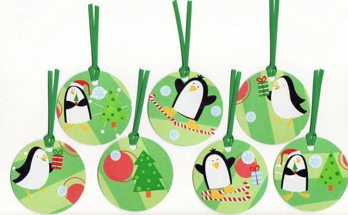 Set of 7 Penguin Christmas Gift or Hang Tags