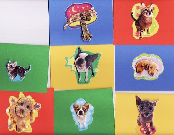Set of 8 Dimensional Cat and Dog Rainbow Bright Notecards