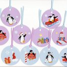 Set of 10 Penguin Christmas/Holiday Blue and Purple Gift or Hang Tags