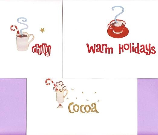 Set of 3 Holiday Cocoa Cards with Envelopes