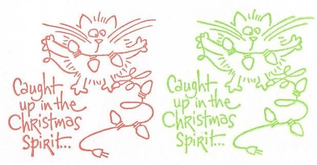 Set of 6 Humorous Cards with Envelopes - Cat Caught Up In The Christmas Spirit