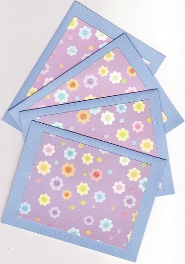 Set of 4 Glitter Flower Cards with Evelopes