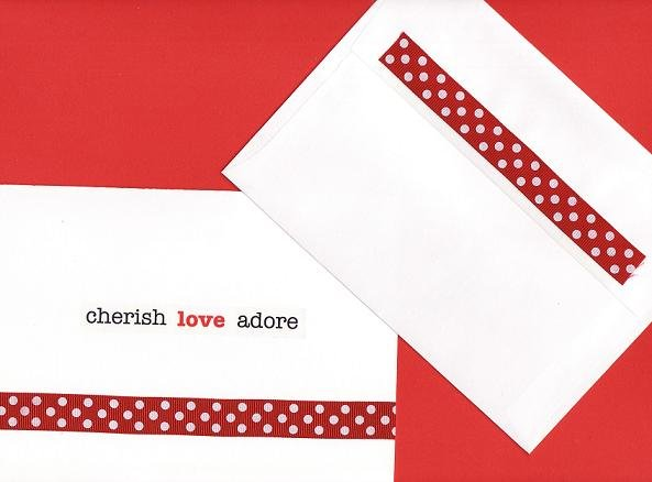 """Cherish Love Adore"" Valentines Day Card with Ribbon and Matching Envelope"