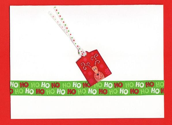 Christmas Tag Card with Ribbon and Envelope