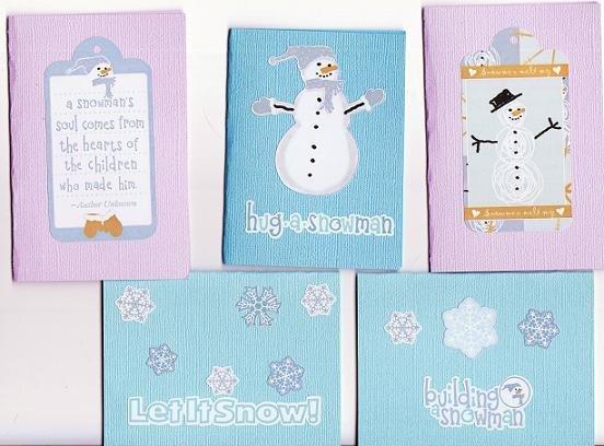 Set of 5 Bulidng-Snowmen Fun Bling Cardstock Cards