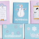 Set of 5 Bulidng-Snowmen Fun Bling Cardstock Cards