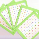 Set of 5 Green Rainbow Glitter Flower and Dots Cards with Envelopes