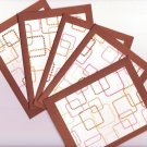 Set of 5 Brown Geo Retro Glitter Squares Cards with Envlopes