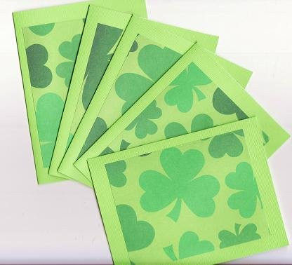 Set of 5 Saint Patrick's Day Green Shamrock Cards with Envelopes