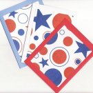 Set of 3 (Red, White, And Blue) Patriotic Stars and Dots Cards with Envelopes