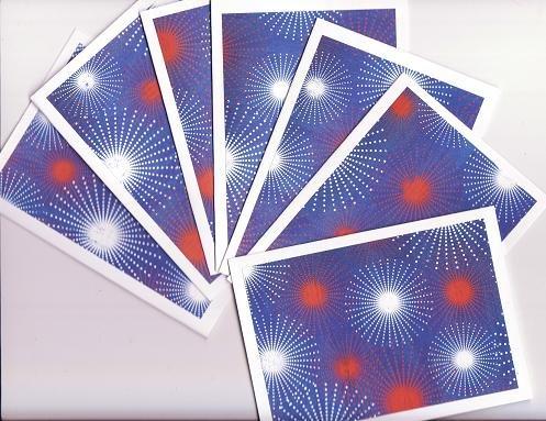 Set of 7 Fireworks Patriotic Cards with Envelopes