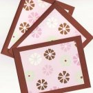 Set of 3 Mint Green Pink and Brown Cards with Envelopes