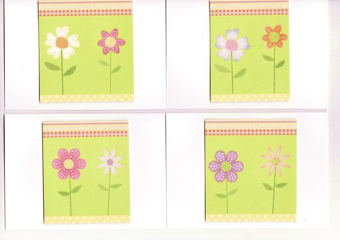 Set of 4 Dimensional Glitter Flower Garden Cards with Envelopes