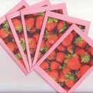 Set of 5 Sweet Delicious Strawberry Cards with Envelopes
