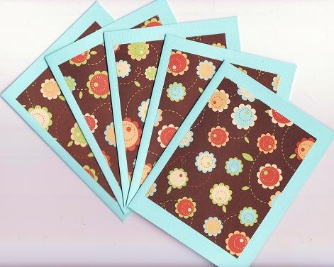 Set of 5 Blue Bohemian Flowers Cards with Envelopes