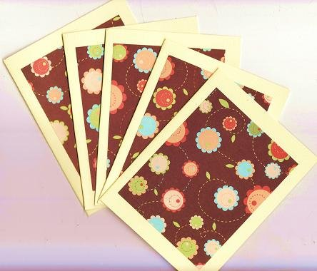Set of 5 Yellow Bohemian Flowers Cards with Envelopes