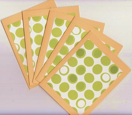 Set of 5 Orange with Green Circle Dots Cards with Envelopes